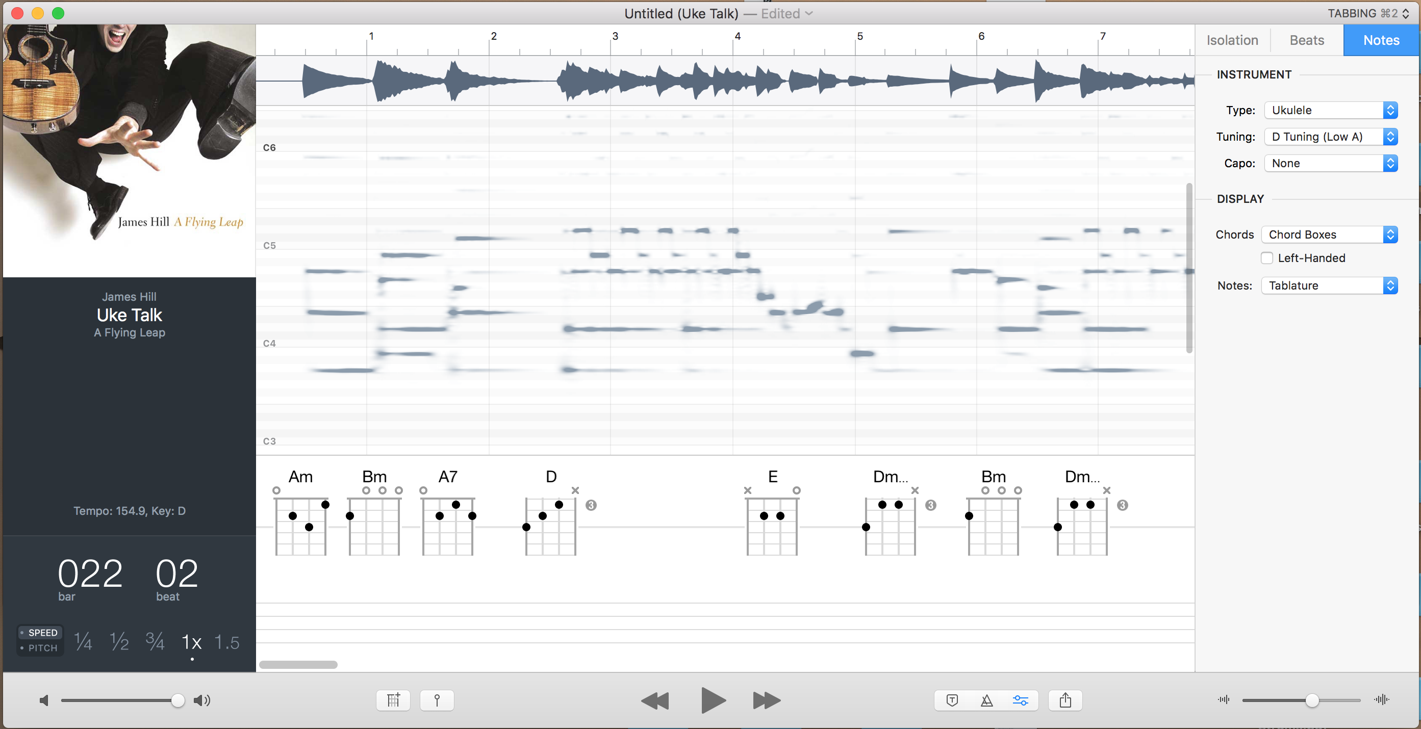 Ukulele Hunt A7 Uke Chord Diagram At The Top Youve Got Track Itself Then In Middle You Have Spectrogram This Shows Pitches Of All Notes Capo Picks Up